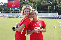 CARY, NC - SEPTEMBER 12: Ryan Williams #13 and Meredith Speck #25 of the North Carolina Courage pose for a photo before a game between Portland Thorns FC and North Carolina Courage at Sahlen's Stadium at WakeMed Soccer Park on September 12, 2021 in Cary, North Carolina.