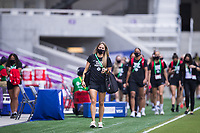 ORLANDO, FL - FEBRUARY 24: CANWNT walking into the stadium before a game between Brazil and Canada at Exploria Stadium on February 24, 2021 in Orlando, Florida.