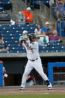 Norfolk Tides second baseman Garabez Rosa (9) at bat  during a game against the Louisville Bats at Harbor Park on April 26, 2016 in Norfolk, Virginia. Louisville defeated defeated Norfolk 7-2. (Robert Gurganus/Four Seam Images)