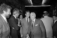 Le Capitole. Le 28 Mai 1985. Vue de A. Brouat, Jean Fabre, Dominique Baudis et Jacques Chaban-Delmas après la finale victorieuse du Stade Toulousain contre le RC Toulon.<br /> <br /> Jacques Chaban-Delmas, souvent surnommé « Chaban », né Jacques Delmasa le 7 mars 1915 à Paris 13e et mort le 10 novembre 2000 à Paris 7e, est un résistant, général de brigade et homme d'État français.<br /> <br /> Considéré comme l'un des « barons du gaullisme », il est notamment maire de Bordeaux de 1947 à 1995, ministre sous la IVe République et président de l'Assemblée nationale à trois reprises entre 1958 et 1988.<br /> <br /> Premier ministre de 1969 à 1972, sous la présidence de Georges Pompidou,