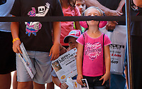 Sep 15, 2019; Mohnton, PA, USA; A young fan of NHRA top fuel driver Leah Pritchett waits for an autograph during the Reading Nationals at Maple Grove Raceway. Mandatory Credit: Mark J. Rebilas-USA TODAY Sports