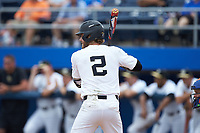 Johnny Aiello (2) of the Wake Forest Demon Deacons at bat against the Florida Gators in the completion of Game Two of the Gainesville Super Regional of the 2017 College World Series at Alfred McKethan Stadium at Perry Field on June 12, 2017 in Gainesville, Florida. The Demon Deacons walked off the Gators 8-6 in 11 innings. (Brian Westerholt/Four Seam Images)