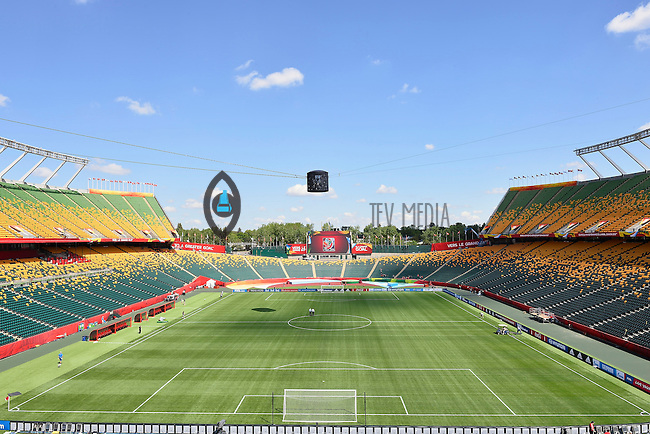 View of the Commonwealth Stadium on the even of opening Women's World Cup Soccer match, Friday June 05, 2015 in Edmonton, Alberta. (Mo Khursheed/TFV Media via AP Images)