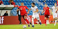 6th August 2020, Basel, Switzerland. UEFA National League football, Switzerland versus Germany;  Manuel Akanji, sui breaks from Ilkay Gundogan ger
