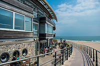View of South Beach Bar and Grill, Tenby, Pembrokeshire, Wales, UK
