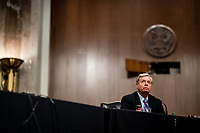 United States Senator Lindsey Graham (Republican of South  Carolina), Chairman, US Senate Judiciary Committee attends a Senate Judiciary Committee business meeting to consider authorization for subpoenas relating to the Crossfire Hurricane investigation and other matters on Capitol Hill in Washington, DC on June 11, 2020. <br /> Credit: Erin Schaff / Pool via CNP/AdMedia