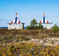 Beach huts at the Chappaquiddick Beach Club, Martha's Vineyard, Massachusetts, USA