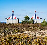 Beach huts at the Chappaquiddick Beach Club, Martha's Vineyard, Massachusetts, USA