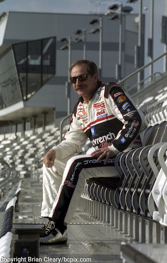 Dale earnhardt tries out the newly opened Earnhardt Grandstand duirng January testing 2001, Daytona International Speedway, Daytona Beach, FL. (Photo by Brian Cleary/www.bcpix.com)