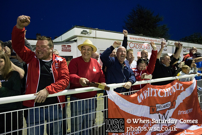 Home supporters cheering at the final whistle at Yockings Park as Whitchurch Alport hosted Cammell Laird 1907 in the 2017-18 North West Counties Division One play-off final. Alport were formed in 1946 and were named after Alport Farm, Whitchurch, which had been the home of a local footballer Coley Maddocks who had been killed in action in the war. The home team won the match 2-1 watched by a crowd of 733, a club record attendance.