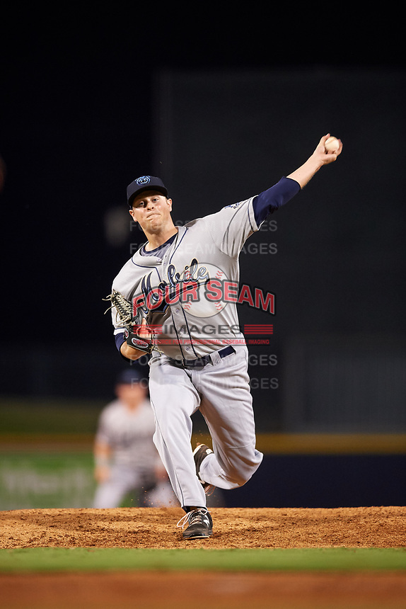 Mobile BayBears relief pitcher Conor Lillis-White (33) delivers a pitch during a game against the Mississippi Braves on May 7, 2018 at Trustmark Park in Pearl, Mississippi.  Mobile defeated Mississippi 5-0.  (Mike Janes/Four Seam Images)