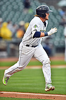Southern Division first baseman Dash Winningham (34) of the Columbia Fireflies runs to first base during the South Atlantic League All Star Game at Spirit Communications Park on June 20, 2017 in Columbia, South Carolina. The game ended in a tie 3-3 after seven innings. (Tony Farlow/Four Seam Images)