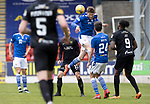 St Johnstone v Livingston…15.05.21  SPFL McDiarmid Park<br />Jamie McCart heads the ball clear<br />Picture by Graeme Hart.<br />Copyright Perthshire Picture Agency<br />Tel: 01738 623350  Mobile: 07990 594431