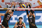 (L-R) Haruka Miyashita, Haruyo Shimamura (JPN), AUGUST 27, 2015 - Volleyball : FIVB Women's World Cup 2015 1st Round between Japan 3-2 Dominican Republic  in Tokyo, Japan. (Photo by Sho Tamura/AFLO SPORT)