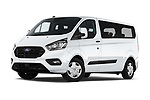 Stock pictures of low aggressive front three quarter view of 2021 Ford Transit-Custom-Kombi Trend 5 Door Combi Low Aggressive