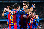 Luis Suarez of FC Barcelona celebrates with teammates Lionel Andres Messi and Andre Filipe Tavares Gomes during their Copa del Rey 2016-17 Semi-final match between FC Barcelona and Atletico de Madrid at the Camp Nou on 07 February 2017 in Barcelona, Spain. Photo by Diego Gonzalez Souto / Power Sport Images