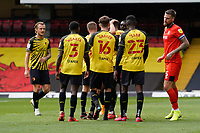 GOAL - Joao Pedro (10) of Watford celebrates with team mates after he scores the opening goal during the Sky Bet Championship match between Watford and Luton Town at Vicarage Road, Watford, England on 26 September 2020. Photo by David Horn.