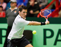 08-04-12, Netherlands, Amsterdam, Tennis, Daviscup, Netherlands-Rumania, Florin Mergea