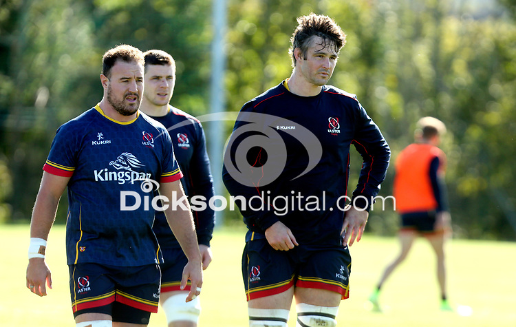 Tuesday 5th October 2021<br /> <br /> Rob Herring, Nick Timoney and Sam Carter during Ulster Rugby training at Newforge Country Club, Belfast, Northern Ireland. Photo by John Dickson/Dicksondigital