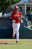 Jacob Cozart (38) jogs to the dugout during the Baseball Factory All-Star Classic at Dr. Pepper Ballpark on October 4, 2020 in Frisco, Texas.  Jacob Cozart (38), a resident of High Point, North Carolina, attends Wesleyan Christian High School.  (Mike Augustin/Four Seam Images)