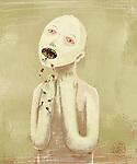 Illustration of sick man vomiting cigarettes over colored background