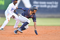 Bowling Green Hot Rods Greg Jones (2) scrambles back to second base during a game against the Asheville Tourists on May 25, 2021 at McCormick Field in Asheville, NC. (Tony Farlow/Four Seam Images)