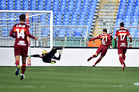 Borja Mayoral of Roma scores  the 1-0 goal  during the Serie A football match between AS Roma and AC Spezia at Olimpico stadium in Roma (Italy), Jannuary 23th, 2021. Photo Antonietta Baldassarre / Insidefoto