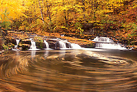 waterfall, fall, North Bennington, VT, Vermont, A whirlpool of water swirls down Paran Creek past a small waterfall in North Bennington in autumn.