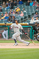 Leury Bonilla (3) of the Tacoma Rainiers at bat against the Salt Lake Bees in Pacific Coast League action at Smith's Ballpark on May 7, 2015 in Salt Lake City, Utah.  (Stephen Smith/Four Seam Images)