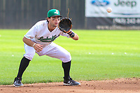 Clinton LumberKings shortstop Johnny Adams (26) takes a throw following a strikeout during a Midwest League game against the Lansing Lugnuts on July 15, 2018 at Ashford University Field in Clinton, Iowa. Clinton defeated Lansing 6-2. (Brad Krause/Four Seam Images)