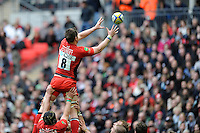 Ernst Joubert of Saracens takes the lineout ball during the Aviva Premiership match between Saracens and Harlequins at Wembley Stadium on Saturday 31st March 2012 (Photo by Rob Munro)