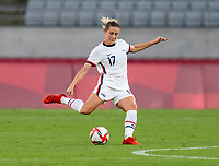 TOKYO, JAPAN - JULY 21: Abby Dahlkemper #17 of the USWNT crosses the ball during a game between Sweden and USWNT at Tokyo Stadium on July 21, 2021 in Tokyo, Japan.