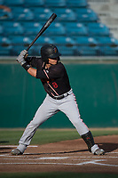 Modesto Nuts shortstop Bryson Brigman (8) at bat during a California League game against the San Jose Giants at San Jose Municipal Stadium on May 15, 2018 in San Jose, California. Modesto defeated San Jose 7-5. (Zachary Lucy/Four Seam Images)