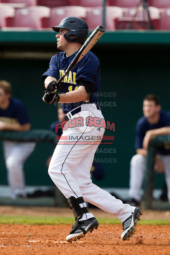 Michigan Wolverines outfielder Michael O'Neill #10 during a game against the Seton Hall Pirates at the Big Ten/Big East Challenge at Al Lang Stadium on February 18, 2012 in St. Petersburg, Florida.  (Mike Janes/Four Seam Images)