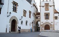 Museum Museu Maricel de Mar. Two girls. Sitges, Catalonia, Spain