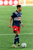FOXBOROUGH, MA - AUGUST 29: Brandon Bye #15 of New England Revolution looks to pass during a game between New York Red Bulls and New England Revolution at Gillette Stadium on August 29, 2020 in Foxborough, Massachusetts.