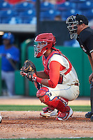 Clearwater Threshers catcher Gabriel Lino (7) during a game against the Dunedin Blue Jays on April 8, 2016 at Bright House Field in Clearwater, Florida.  Dunedin defeated Clearwater 8-3.  (Mike Janes/Four Seam Images)