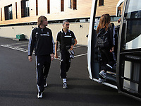 Wednesday 07 August 2013<br /> Pictured L-R:  Michu and Chico Flores departing from the Swansea Training ground.  <br /> Re: Swansea City FC travelling to Sweden for their Europa League 3rd Qualifying Round, Second Leg game against Malmo.
