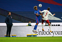 England manager Gareth Southgate watches on `as Reece James (Chelsea) of England and Robert Skov (1899 Hoffenheim) of Denmark challenge for the ball during the UEFA Nations League match played behind closed doors due to the current government Covid-19 rules within sports venues between England and Denmark at Wembley Stadium, London, England on 14 October 2020. Photo by Andy Rowland.