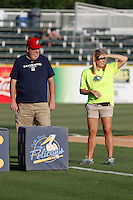 Myrtle Beach Pelicans fan Joel White playing the Big M Casino Dice game during a game against the Potomac Nationals at Ticketreturn.com Field at Pelicans Ballpark on May 24, 2015 in Myrtle Beach, South Carolina. Potomac defeated Myrtle Beach 1-0. (Robert Gurganus/Four Seam Images)