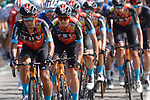 The peloton led by Bahrain-Victorious during Stage 3 of La Vuelta d'Espana 2021, running 202.8km from Santo Domingo de Silos to Picon Blanco, Spain. 16th August 2021.    <br /> Picture: Luis Angel Gomez/Photogomezsport | Cyclefile<br /> <br /> All photos usage must carry mandatory copyright credit (© Cyclefile | Luis Angel Gomez/Photogomezsport)