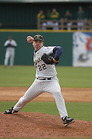 West Virginia Mountaineers pitcher Dan Dierdorff #22 pitching during a game against the George Mason University Dukes at BB&T Coastal Field on February 26, 2012 in Myrtle Beach, SC. George Mason defeated West Virginia 1-0. (Robert Gurganus/Four Seam Images)