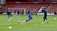 10th October 2020; Bescot Stadium, Wallsall, West Midlands, England; English Football League Two, Walsall FC versus Colchester United; Colchester players warming up