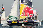 Competitors in action during Day 2 of the Act 3 Extreme Sailing Series Qingdao 2014 at Qingdao International Sailing Centre race during the  on May 2, 2014 in Qingdao, China. Photo by Xaume Olleros / Power Sport Images