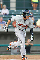 Frederick Keys infielder Tucker Nathans (6) in action during a game against the Myrtle Beach Pelicans at Ticketreturn.com Field at Pelicans Ballpark on May 21, 2015 in Myrtle Beach, South Carolina.  Frederick defeated Myrtle Beach 4-3. (Robert Gurganus/Four Seam Images)
