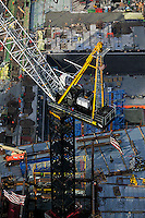 aerial photograph crane World Trade Center construction site, Manhattan, New York City