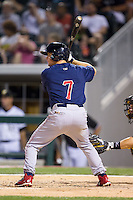 Matt Tolbert (7) of the Lehigh Valley IronPigs at bat against the Charlotte Knights at BB&T Ballpark on May 8, 2014 in Charlotte, North Carolina.  The IronPigs defeated the Knights 8-6.  (Brian Westerholt/Four Seam Images)