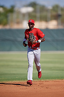 GCL Cardinals center fielder Carlos Soler (43) jogs back to the dugout during a game against the GCL Nationals on August 5, 2018 at Roger Dean Chevrolet Stadium in Jupiter, Florida.  GCL Cardinals defeated GCL Nationals 17-7.  (Mike Janes/Four Seam Images)
