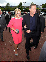 Pictured: Chairman Huw Jenkins (R) arrives Wednesday 20 May 2015<br /> Re: Swansea City FC Awards Dinner at the Liberty Stadium, south Wales, UK