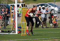 USWNT goalkeeper Nicole Barnhart catches the ball during practice at WakeMed Soccer Park in Cary, NC.